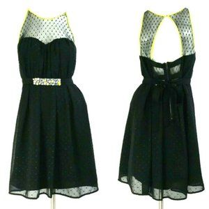 Vera Wang Princess Black Mesh Cut-Out Back Dress